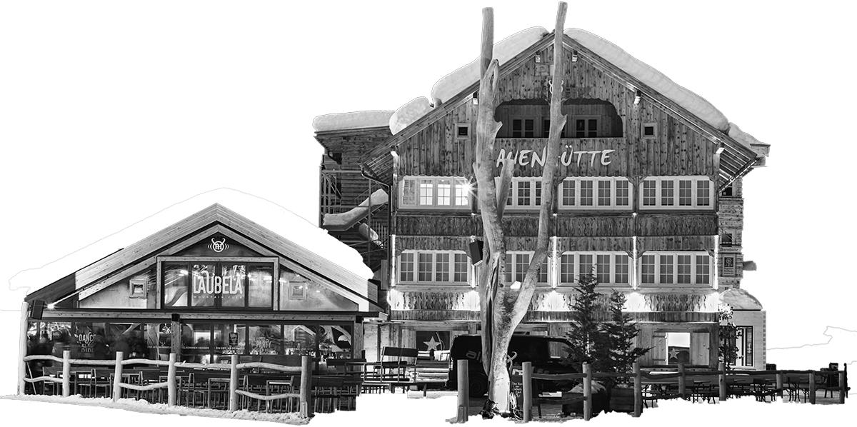 Zeichnung Laubela-Auenhütte Ifen-Hirschegg